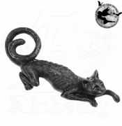 ALCHEMY GOTHIC Cat Sith Black Pewter Hair Slide | Gothic Hair Clip
